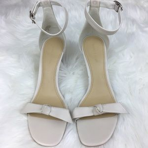 Marc Fisher Dalli cream knitted ankle strap sandal